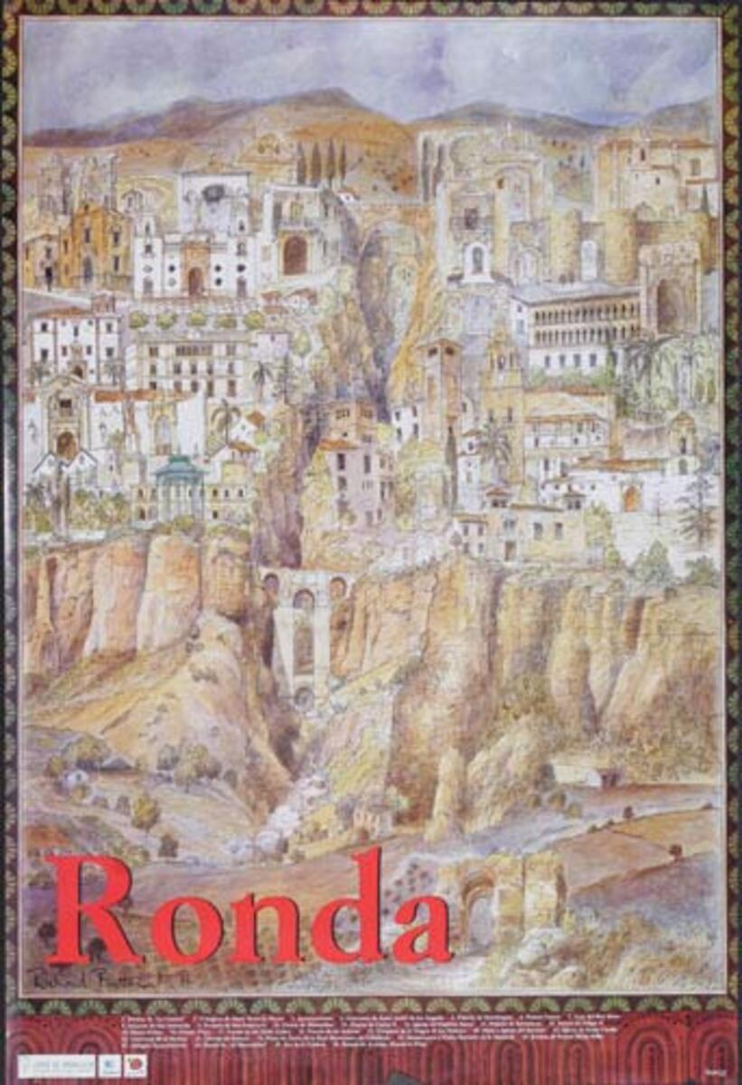 Ronda Town Scene Original Spanish Travel Poster