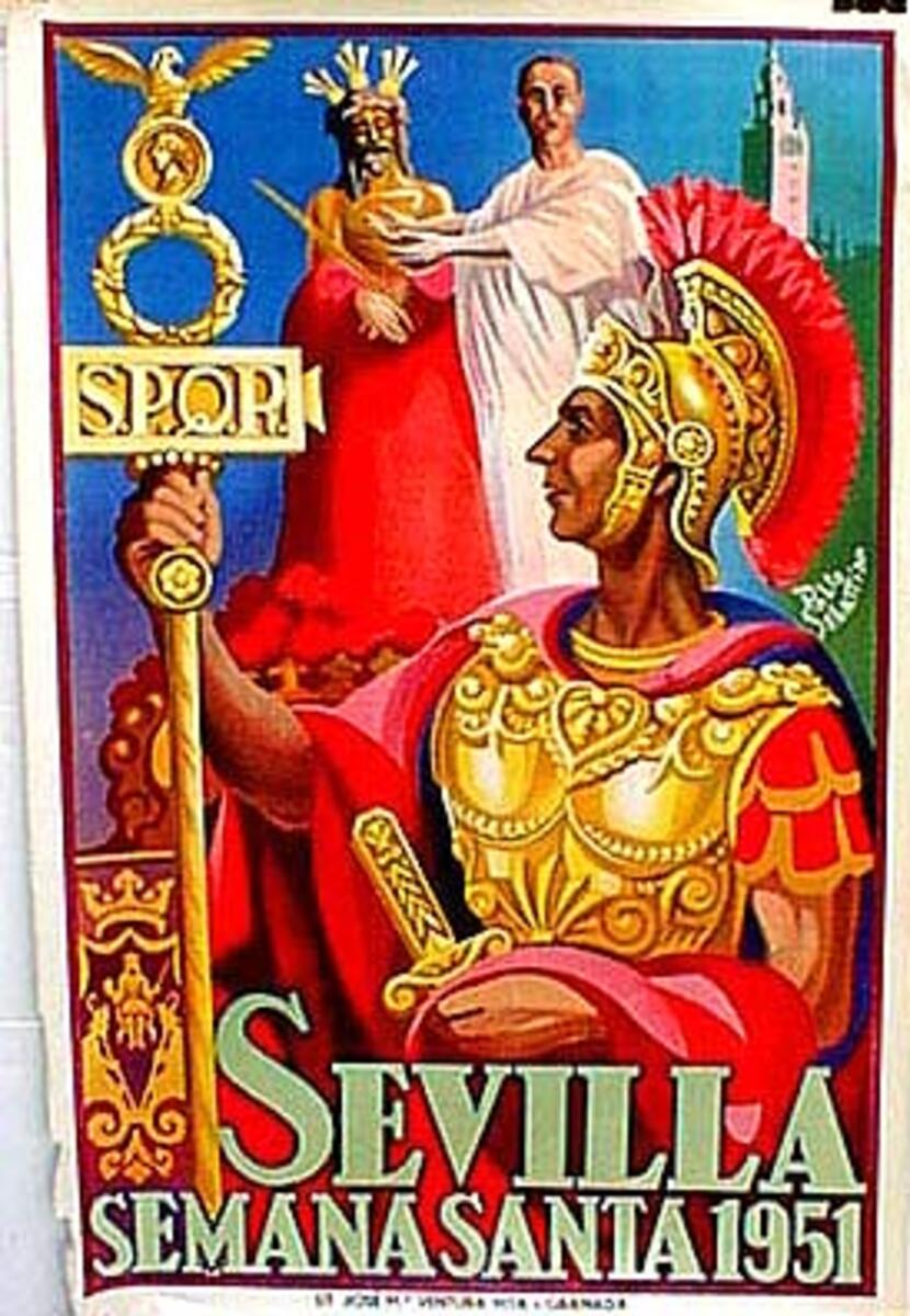 Spain Original Vintage Travel Poster Sevilla holy week