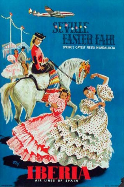 Spain Original Vintage Travel Poster Seville Easter fair