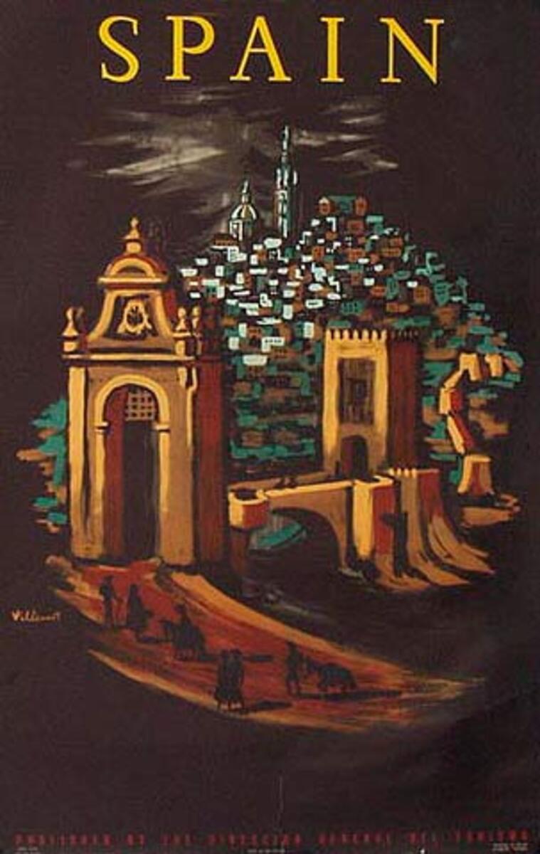Spain Original Vintage Travel Poster Villemot brown/black