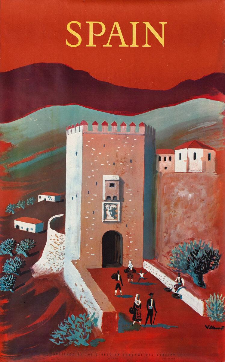 Spain Original Vintage Travel Poster Villemot red
