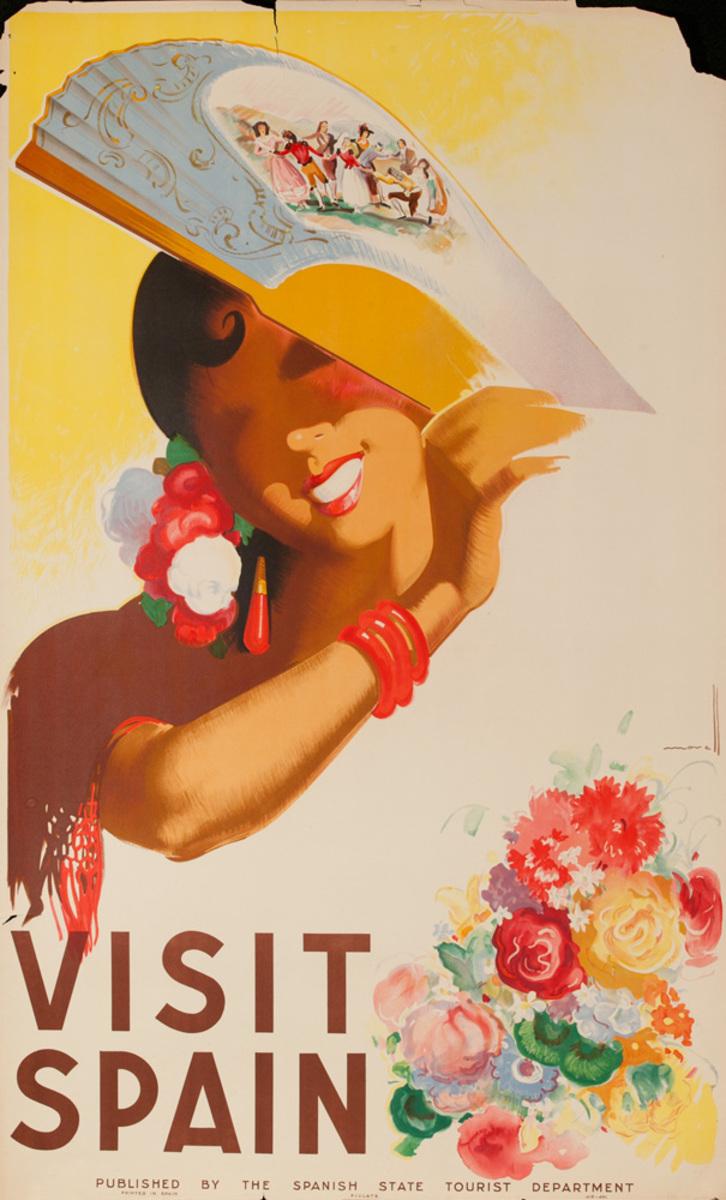 Spain Visit Spain Original Vintage Travel Poster fan