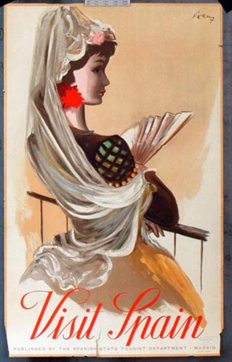 Spain Original Vintage Travel Poster senorita