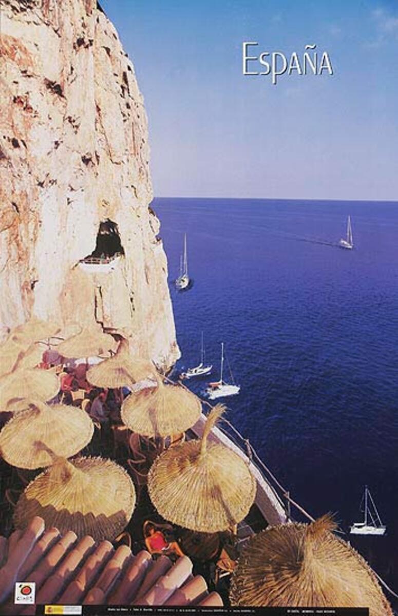 Original Spanish Travel Poster coastal restaurant photo
