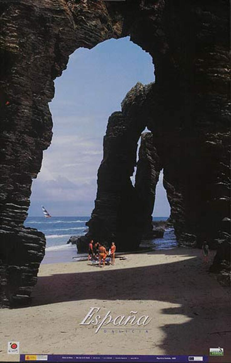 Original Spanish Travel Poster Galacia coastal photo