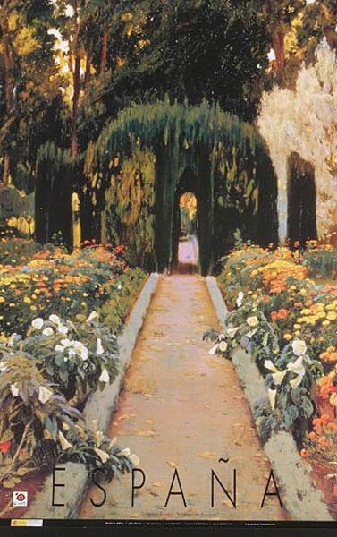 Original Spanish Travel Poster garden painting