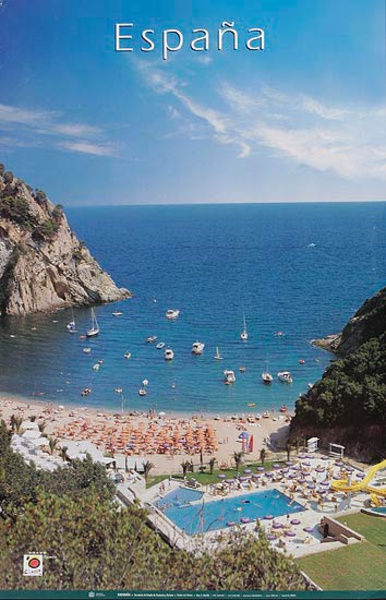 Original Spanish Travel Poster coastal resort pool photo