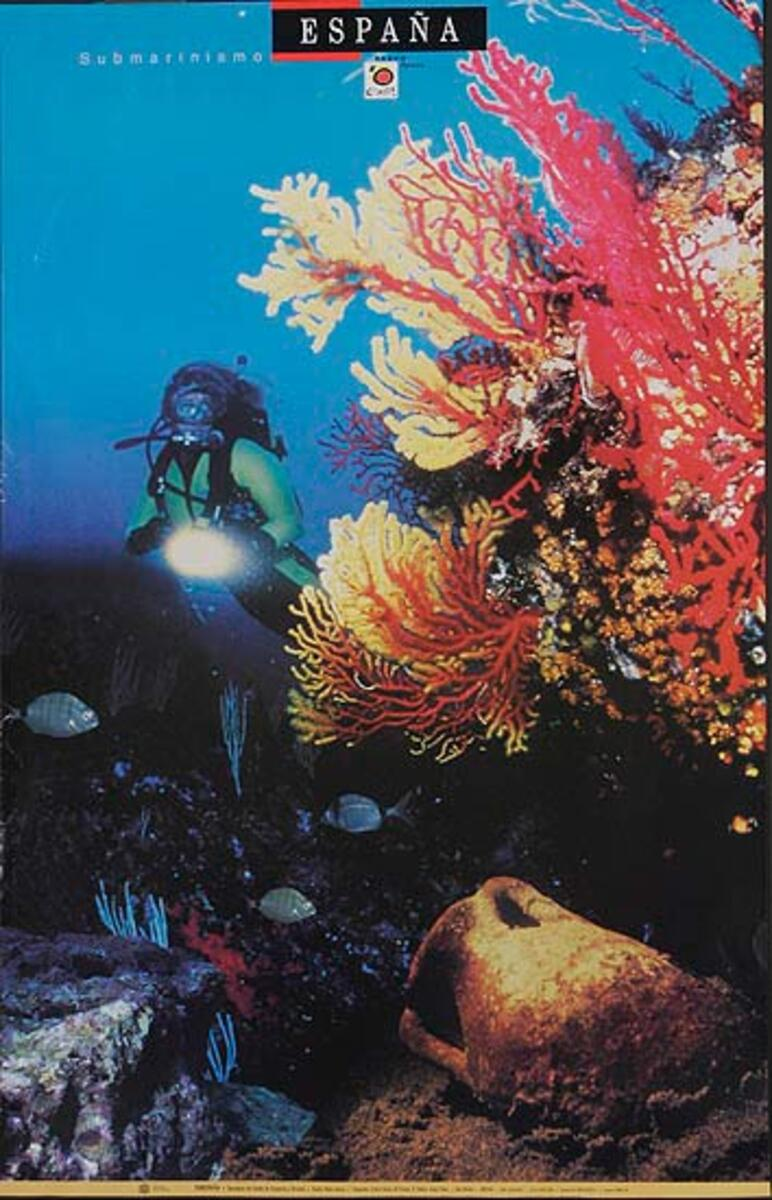 Original Spanish Travel Poster scuba photo
