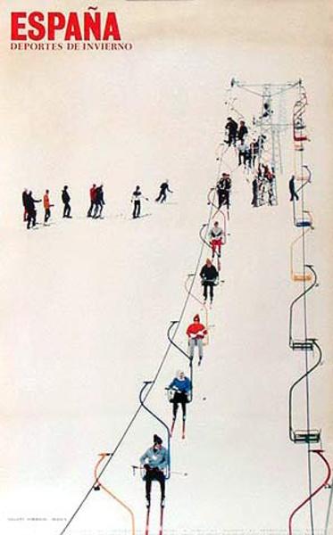 Spain Original Vintage Travel Poster Ski