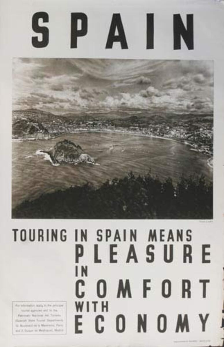 Pleasure Comfort Economy Original Spanish Travel Poster