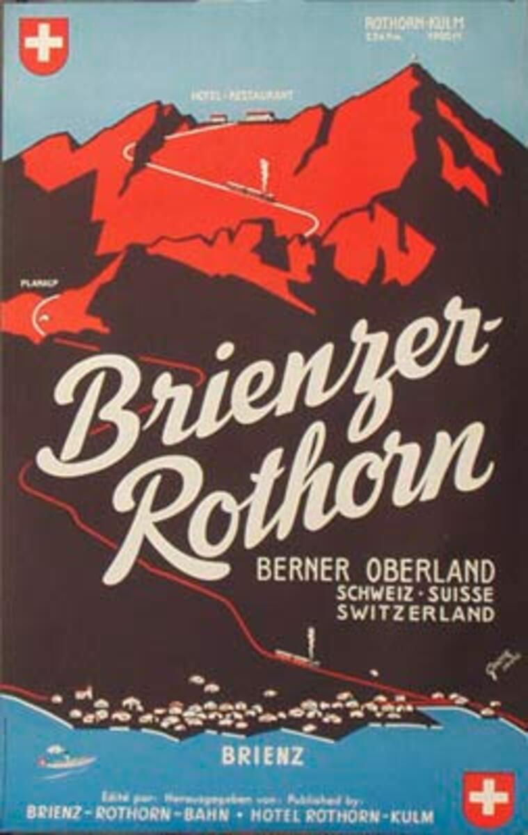 Brienzer Rothorn Original Vintage Swiss Travel Poster