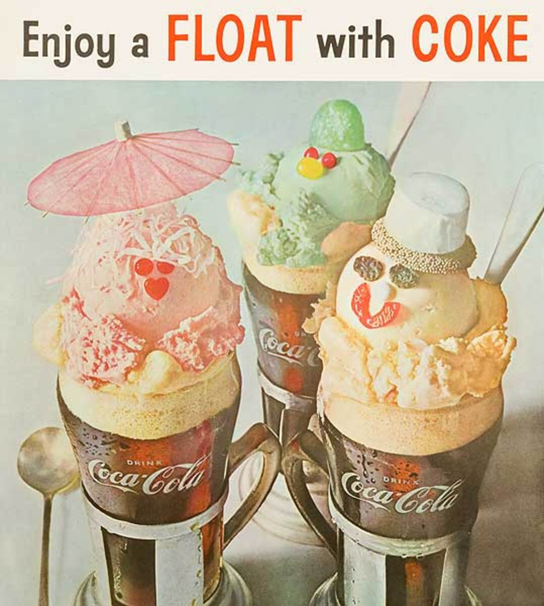 Enjoy a Float With a Coke Original Advertising Poster lg