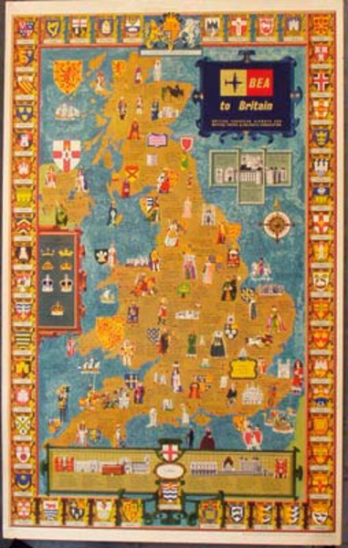 BEA to Britain Map Original Vintage British Travel Poster