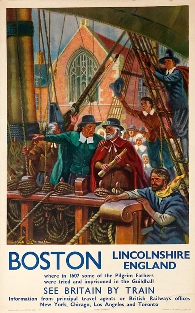 Boston Pilgrims Original Vintage British Travel Poster