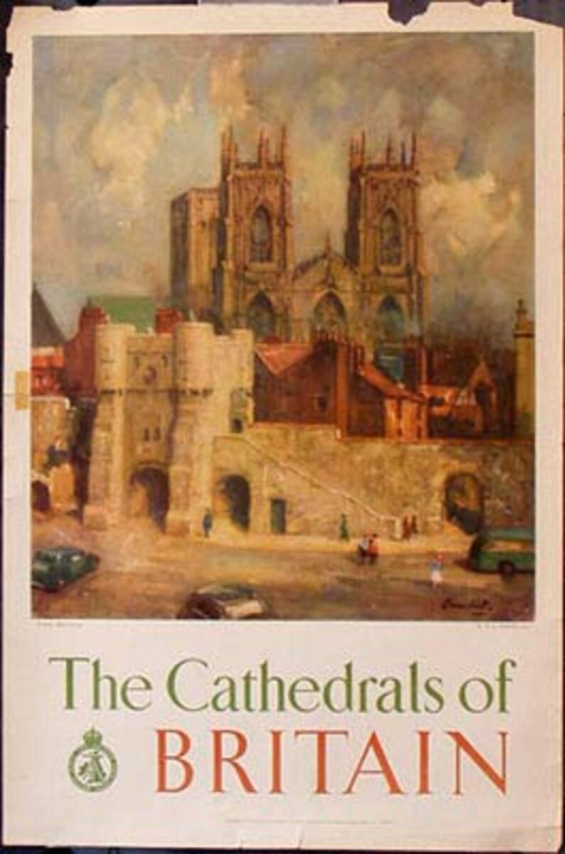 Cathedrals of Britain Original Vintage British Travel Poster