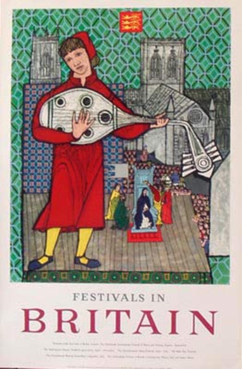Original Vintage British Travel Poster Festivals in Britain