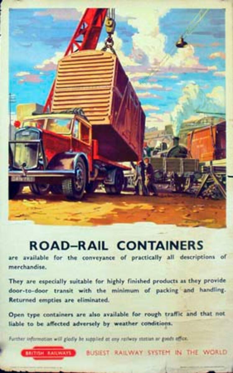 British Rail Original Travel Poster Rail-Road Containers