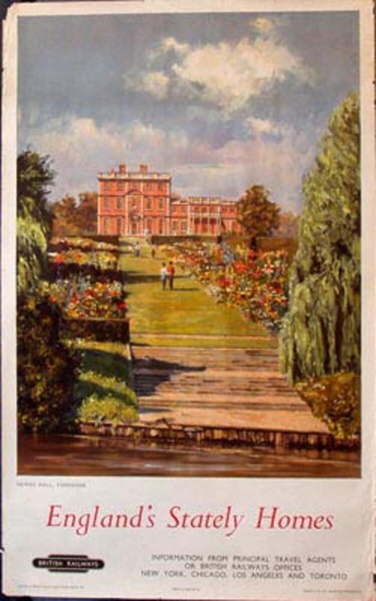 England's Stately Homes British Railways Original Vintage British Travel Poster