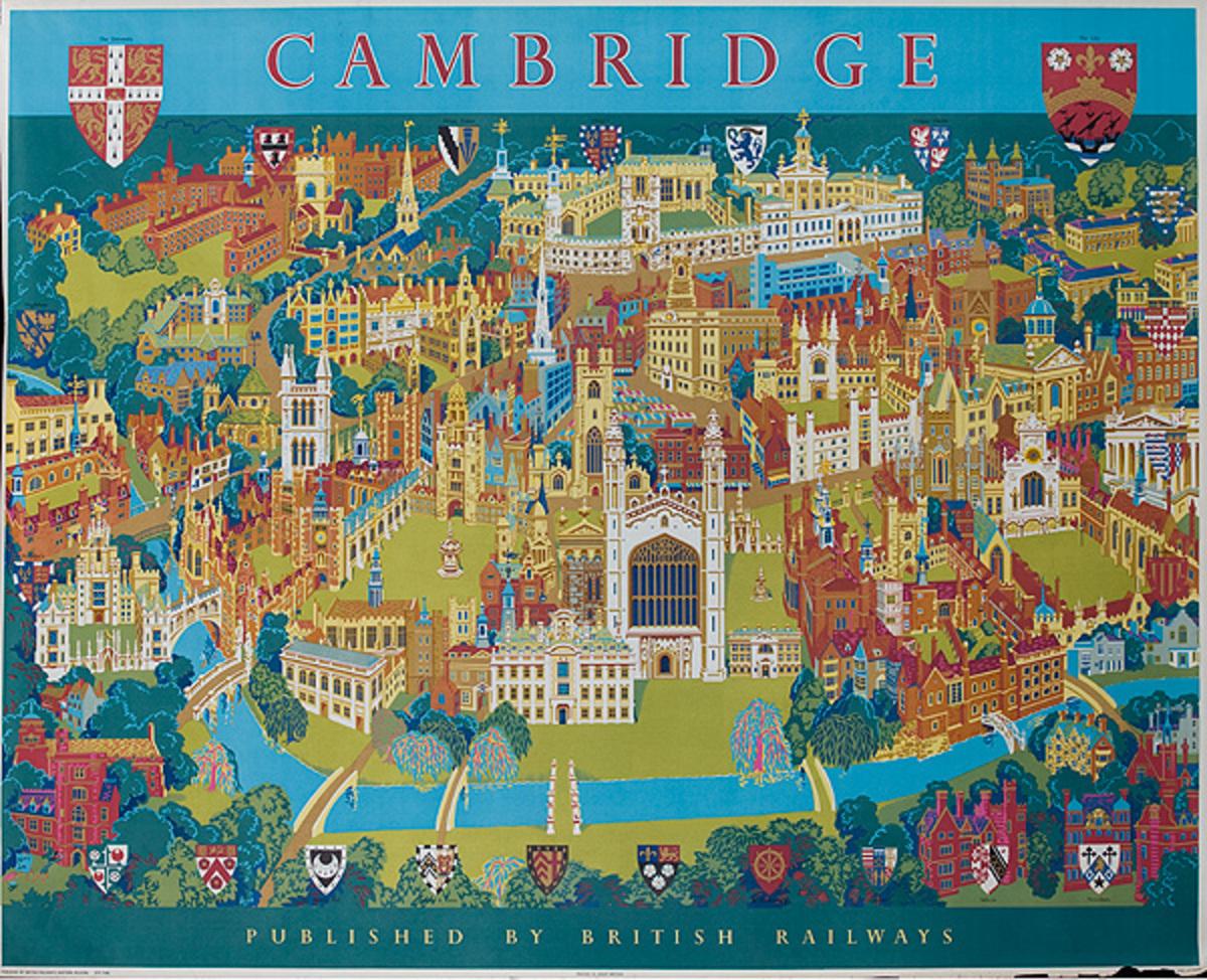 Cambridge British Railways Original Vintage British Travel Poster