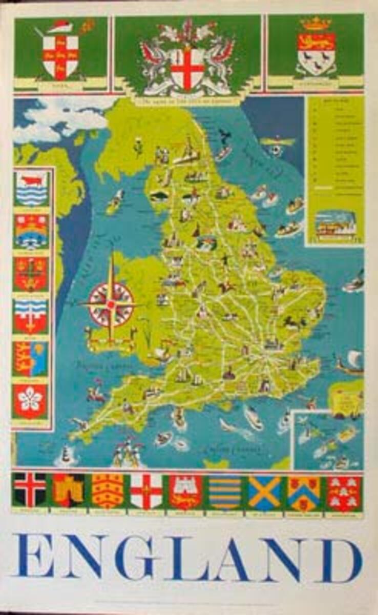Original Vintage British Travel Poster England Map