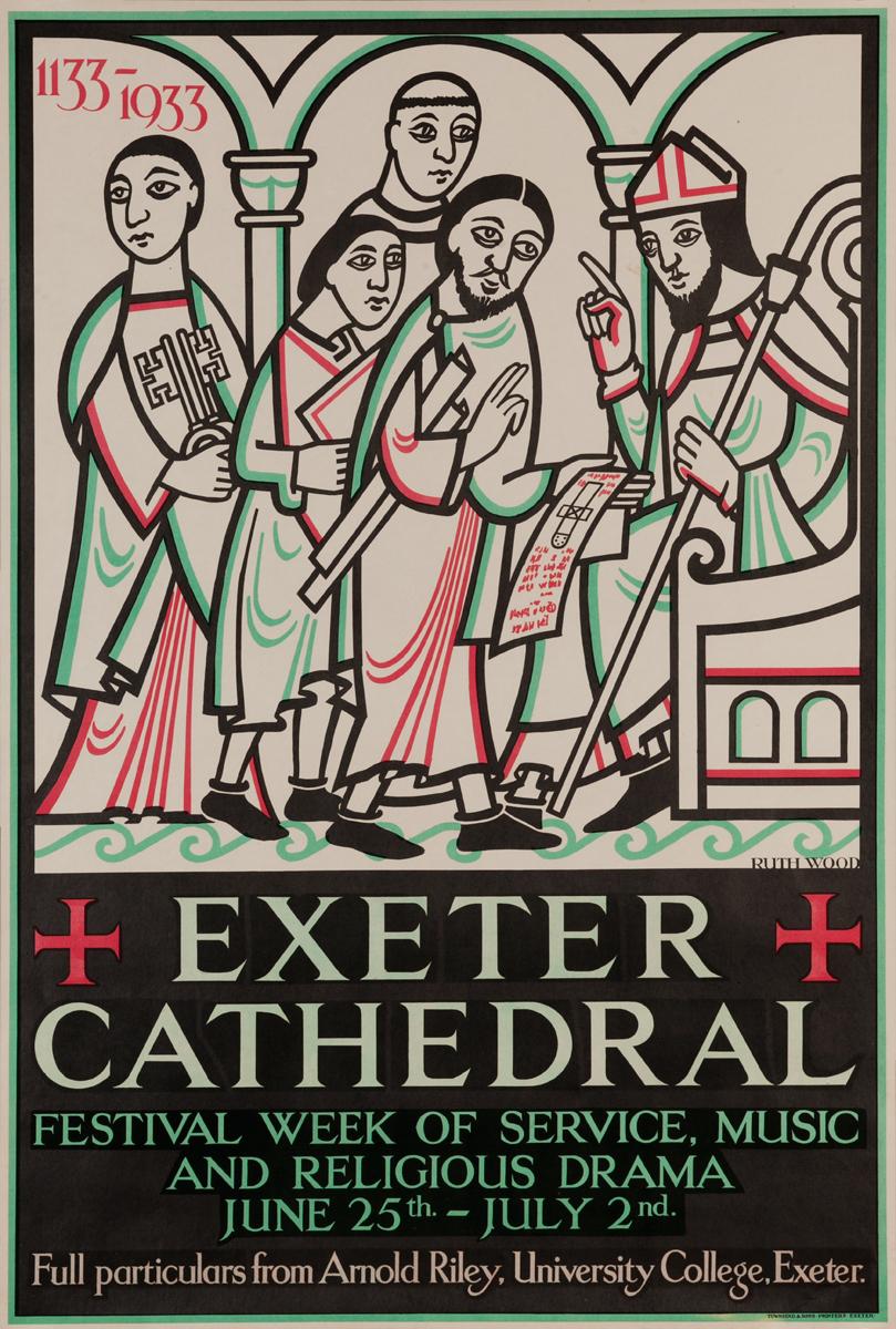 Exeter Cathedral Festival Week Original Vintage British Travel Poster