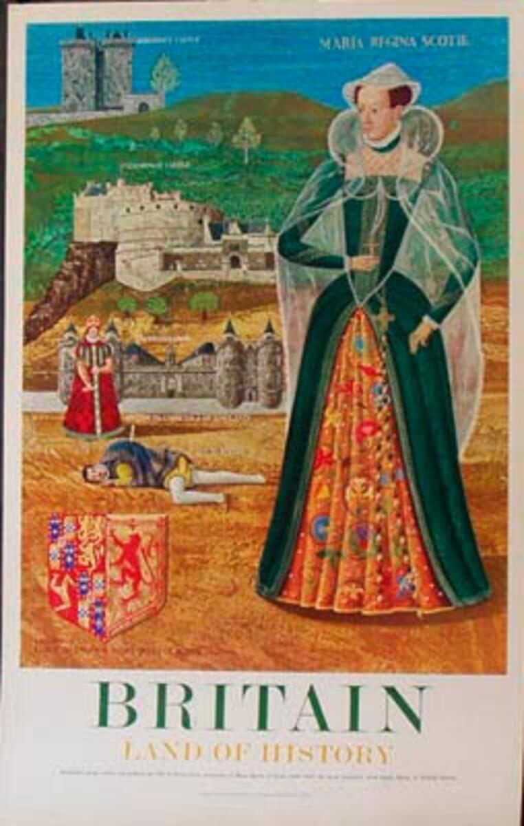 Land Of History Mary Queen of Scot's Original Vintage British Travel Poster