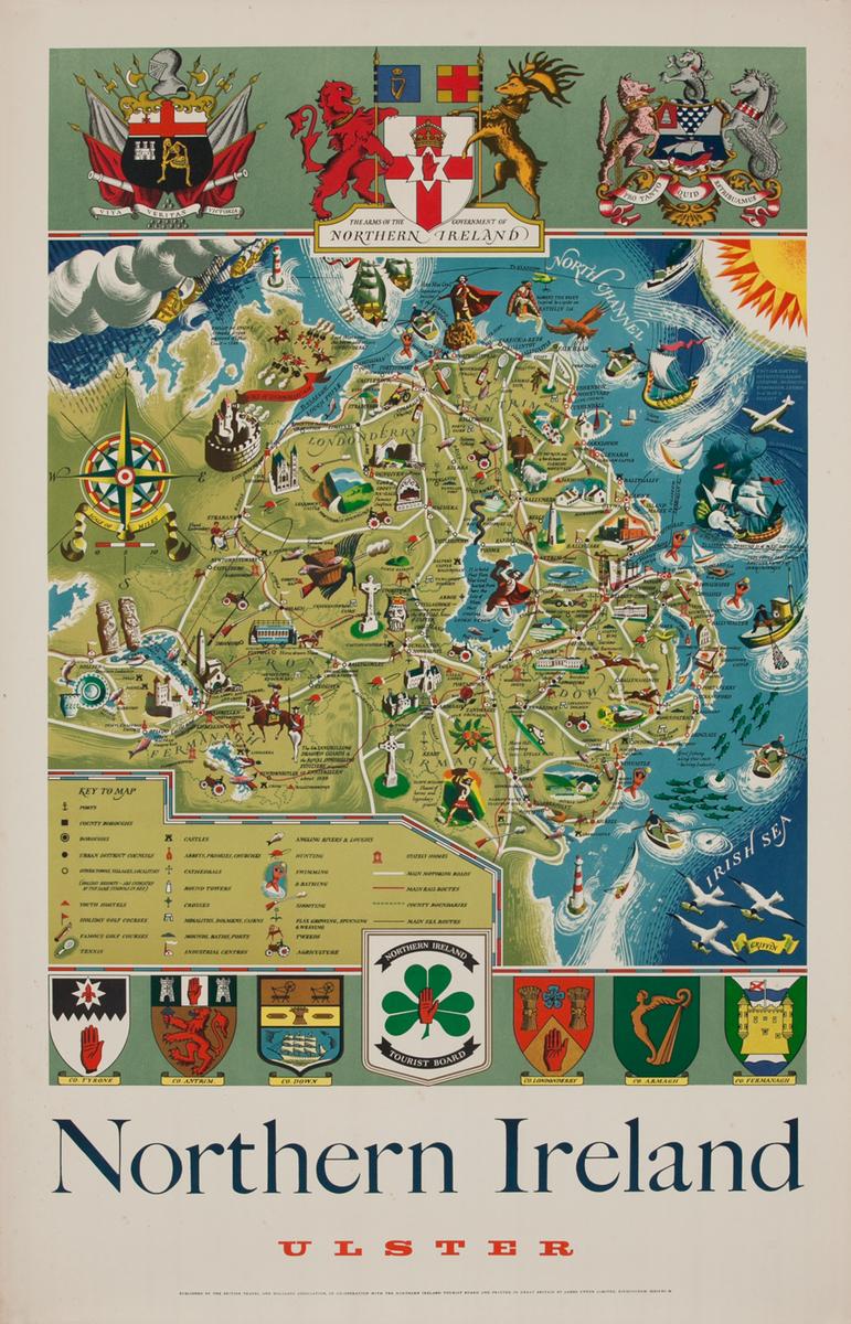 Northern Ireland Ulster Map Original Vintage British Travel Poster
