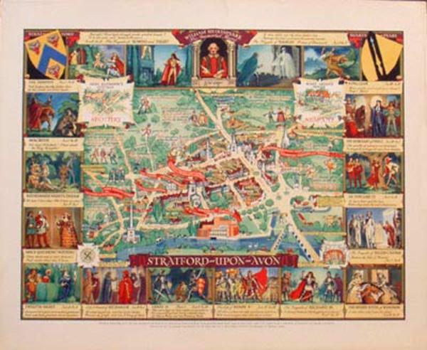 Statford on Avon Map Original Vintage British Travel Poster