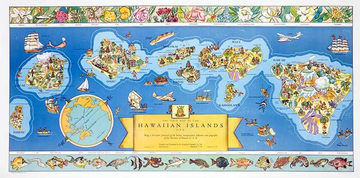 A Dole Map of the Hawaiian Islands 1937