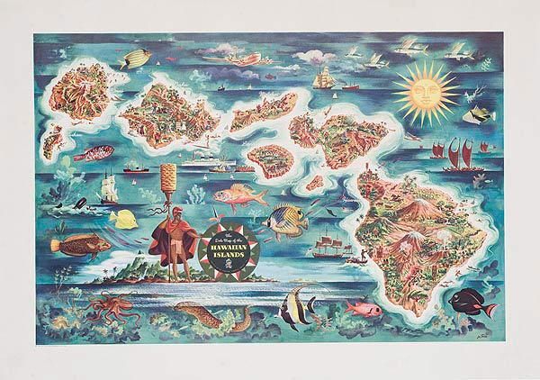 Dole Hawaii Islands Map Poster