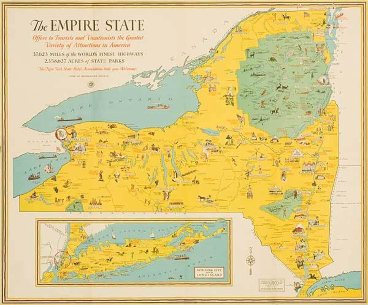 The Empire State Original New York Travel Souvenir Poster