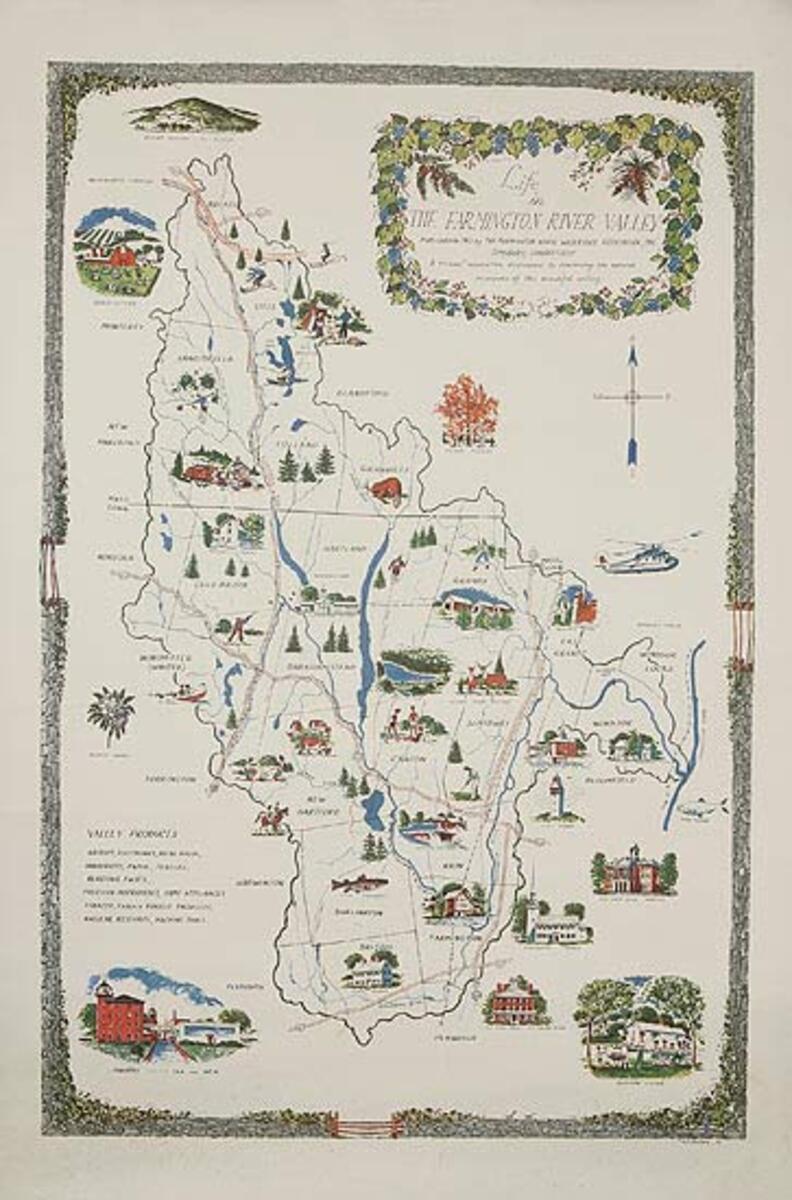 The Farmington River Valley Original Travel Tourism Poster