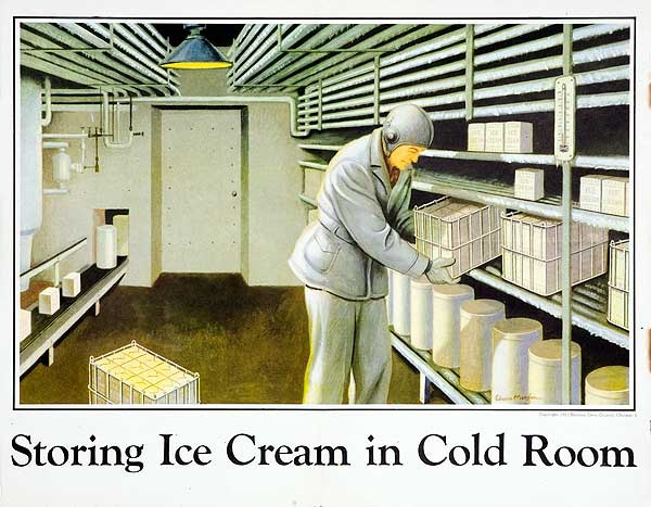 Storing Ice Cream In Cold Room Original National Dairy Council Milk Promotion Poster