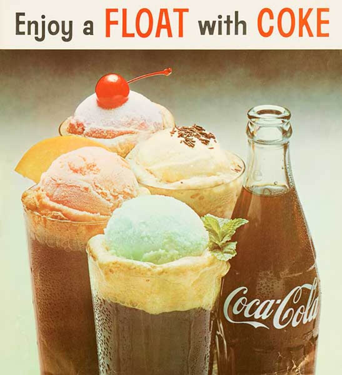 Enjoy a Float With a Coke Original Advertising Poster with Coke bottle