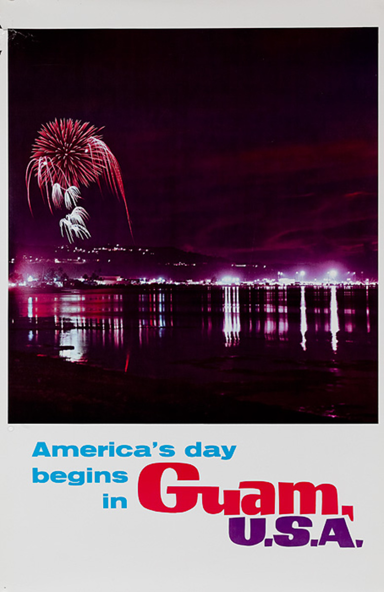 America's Day Begins in Guam USA Original Travel Night Fireworks Scene