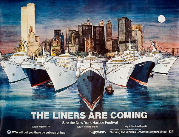 The Liners Are Coming Original New York Harbor Festival Poster
