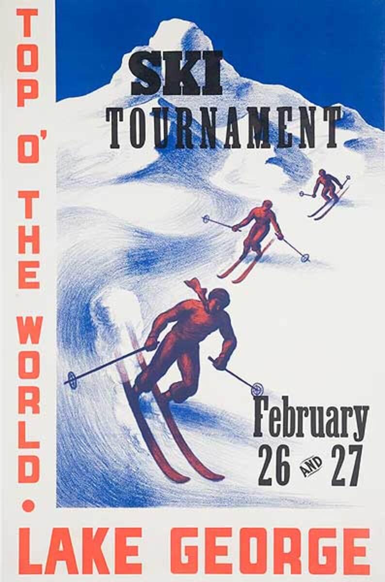 Top O' The World Original Lake George Ski Tournament Poster