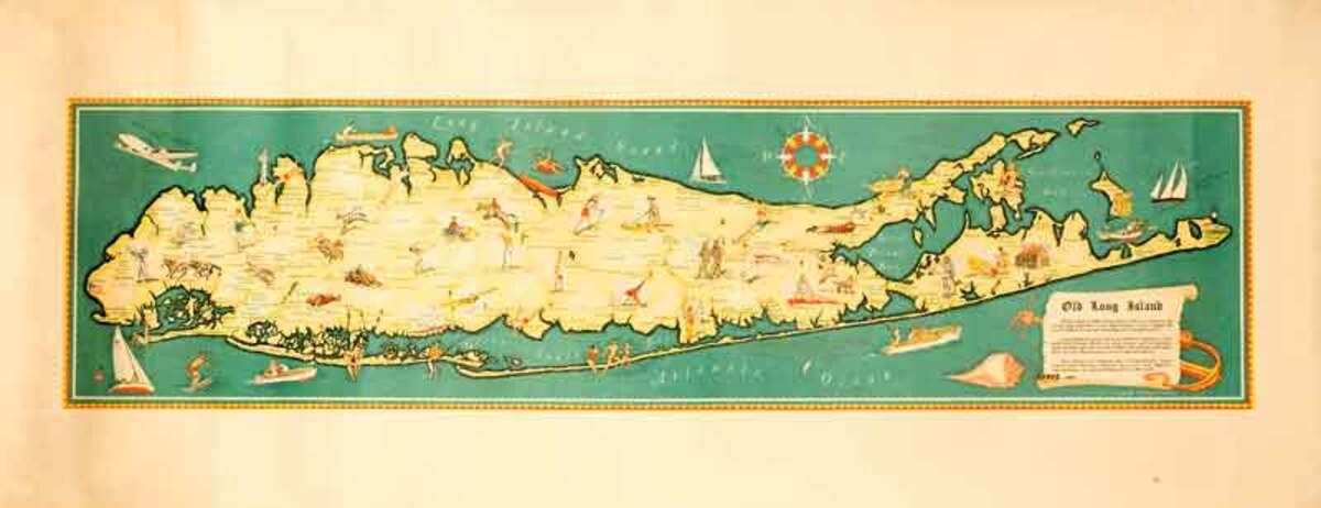 Old Long Island Original Sovenier Travel Map