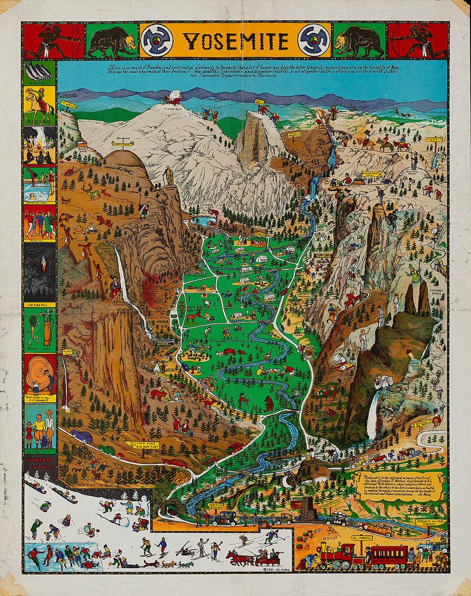 Jo Mora Yosemite Original Travel Poster Map