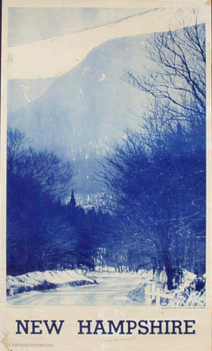 New Hampshire Road in Snow Original Vintage Travel Poster
