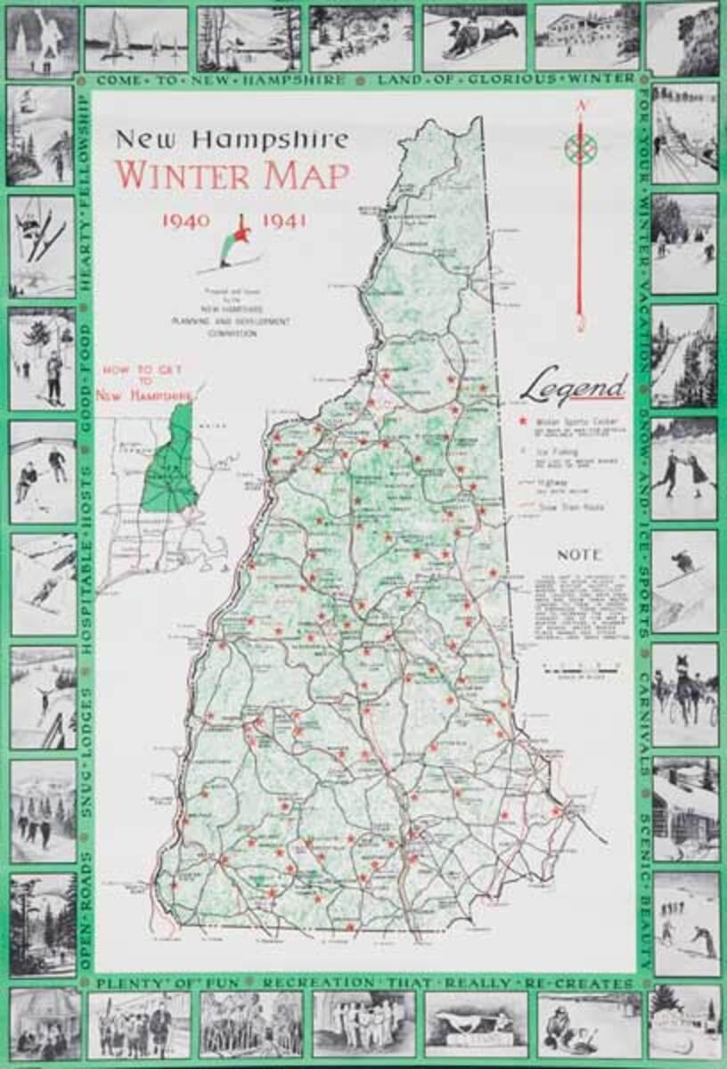 New Hampshire Winter Map Original Winter Sports Ski Tourism Poster