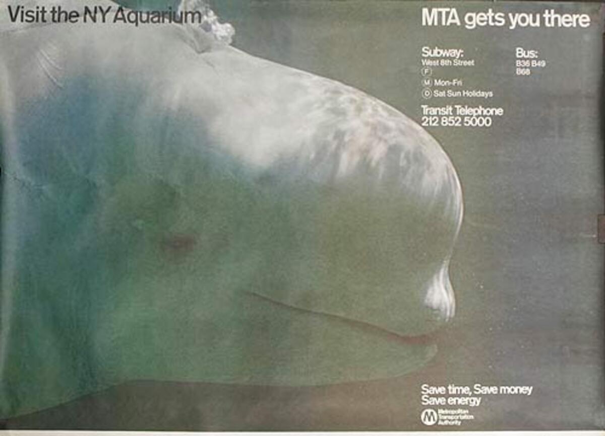 NY Aquarium MTA Original Subway Advertising Poster