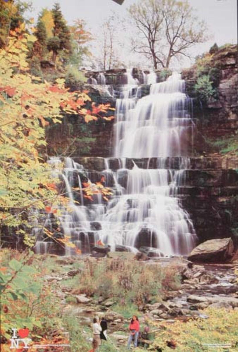 I Love NY Celebrates Waterfall Scene Original Travel Poster