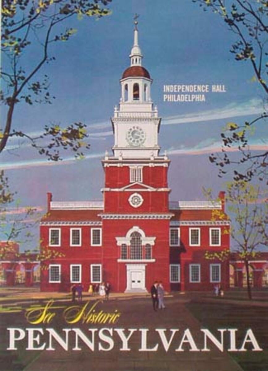 Original Vintage Pennsylvania Travel Poster Independence Hall