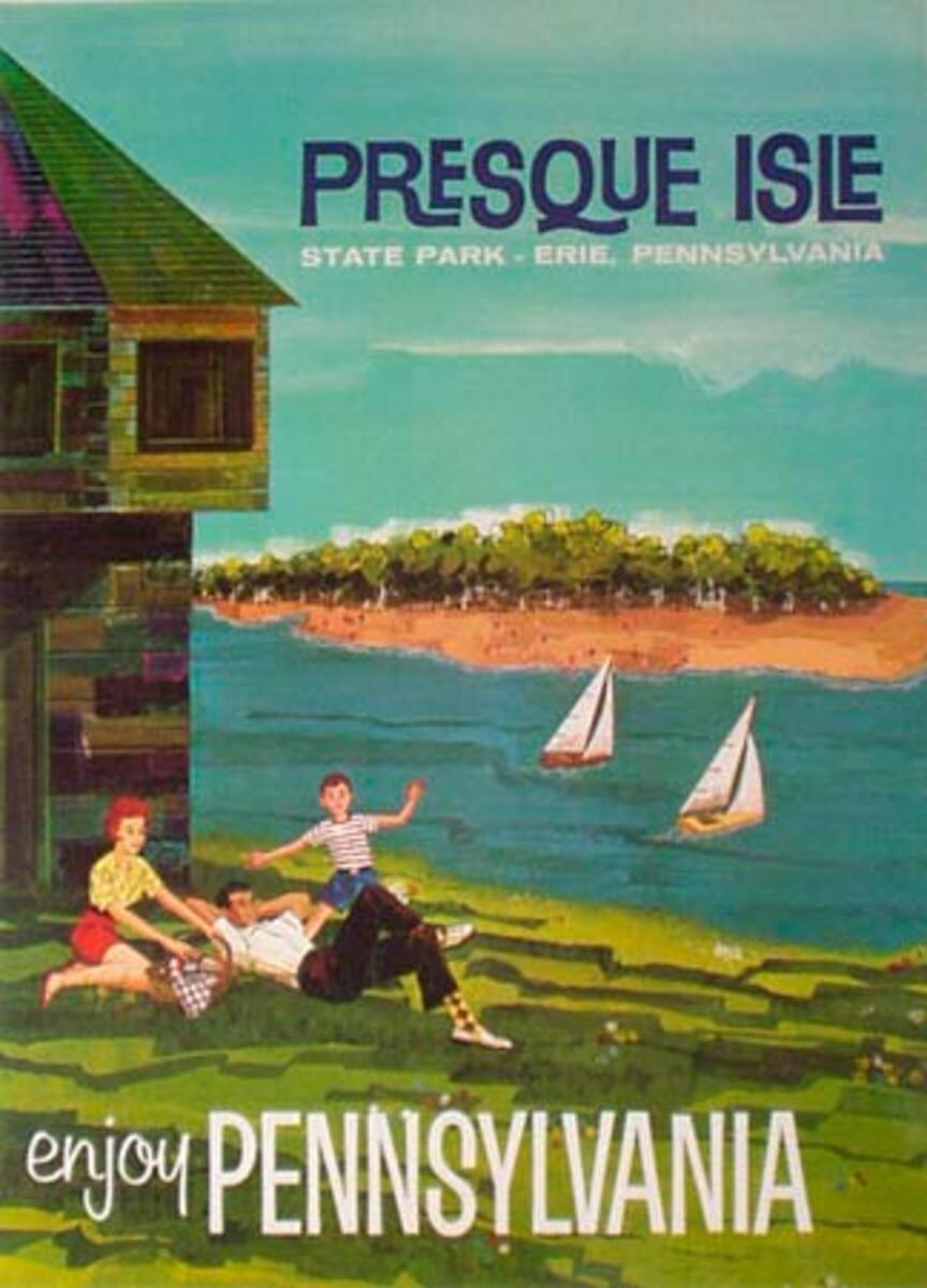 Original Vintage Pennsylvania Travel Poster Presque Isle