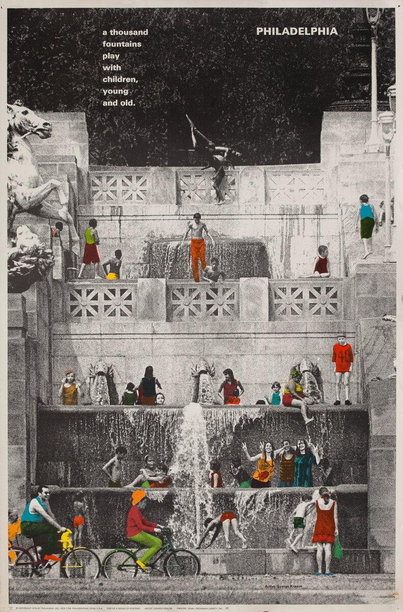 Philadelphia Pennsylvania Thousand Fountains Original US Travel Poster