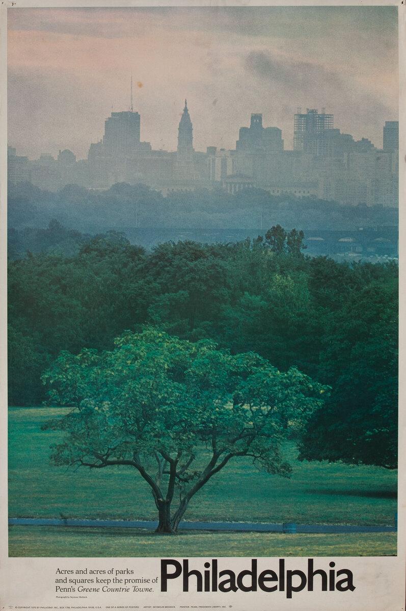 Philadelphia Pennsylvania Acres of Parks Original Vintage US Travel Poster