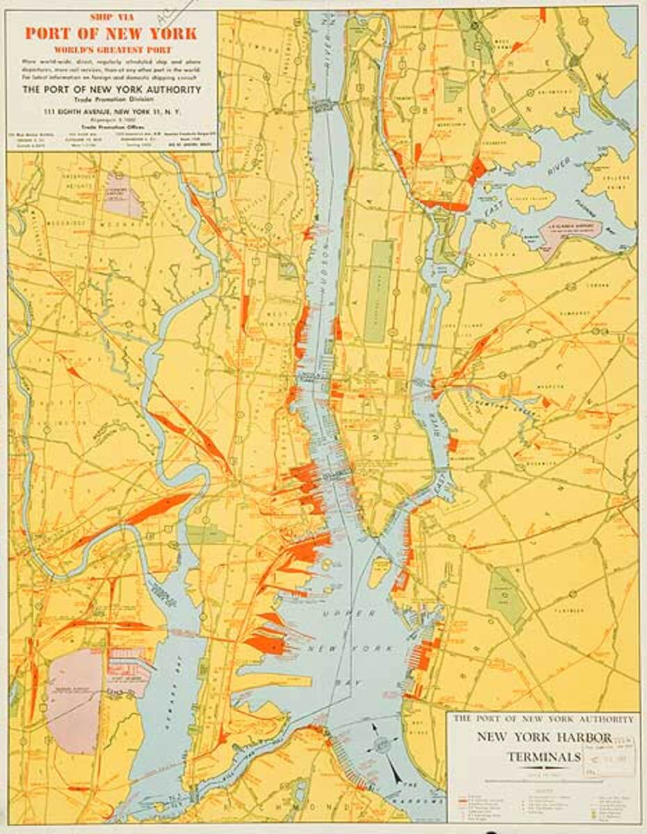 The Port of New York, Original Shipping Map Poster