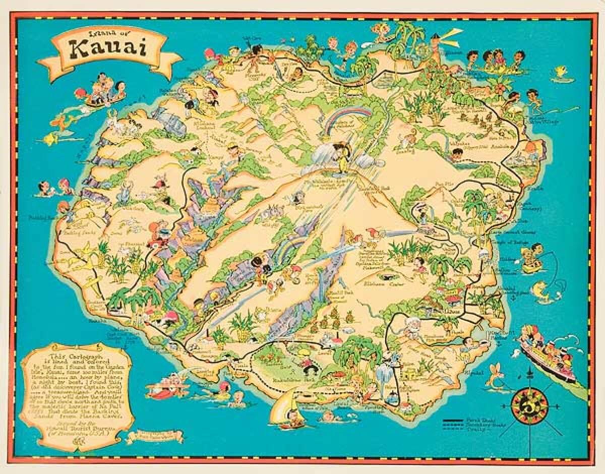 Island Of Kauai Original hawaiianTravel Map Poster