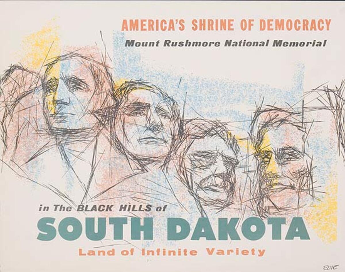 South Dakota America's Shrine of Democracy Mt Rushmore Original Travel Poster